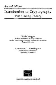 Introduction to Cryptography with Coding Theory (2nd Edition ...