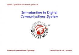 Introduction to Digital Communications System