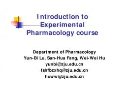 Introduction to Experimental Pharmacology course
