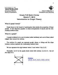 Introduction to Graph Theory - CEMC - University of Waterloo