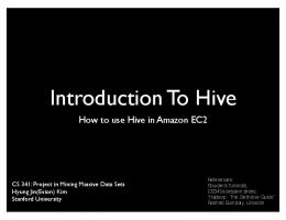 Introduction To Hive - Stanford University