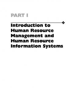 Introduction to Human Resource Management and Human ...