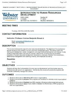 Introduction to Human Resources Development - Webster University