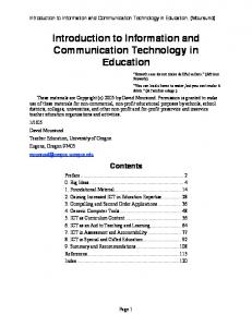 Introduction to Information and Communication Technology - CiteSeerX