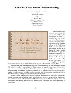 Introduction to Information Extraction Technology - SRI's Artificial ...