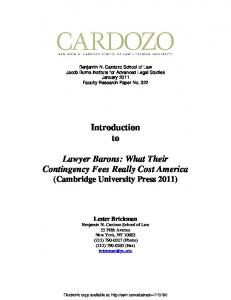 Introduction to Lawyer Barons: What Their ... - SSRN papers