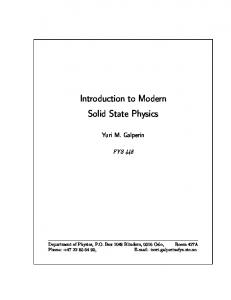 Introduction to Modern Solid State Physics