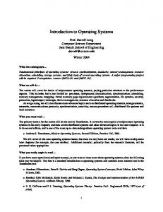 Introduction to Operating Systems - Courses