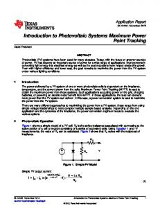 Introduction to Photovoltaic Systems Maximum Power Point Tracking