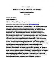 INTRODUCTION TO POLITICAL PHILOSOPHY - University of Chicago