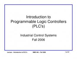 Introduction to Programmable Logic Controllers (PLC's) - UNED