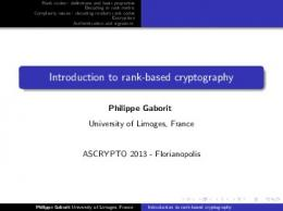 Introduction to rank-based cryptography