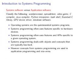 Introduction to Systems Programming