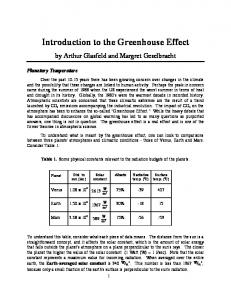 Introduction to the Greenhouse Effect
