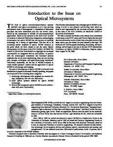 Introduction to the Issue on Optical Microsystems - IEEE Xplore