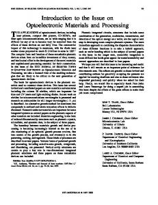 Introduction To The Issue On Optoelectronic Materials ... - IEEE Xplore