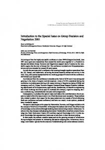 Introduction to the Special Issue on Group Decision ... - Springer Link