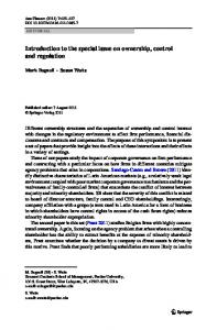 Introduction to the special issue on ownership, control ... - Springer Link