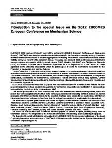 Introduction to the special issue on the 2012 ... - Springer Link