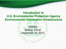 Introduction to US Environmental Protection Agency ...