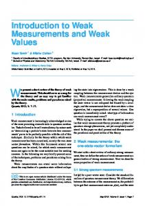Introduction to Weak Measurements and Weak Values - CiteSeerX