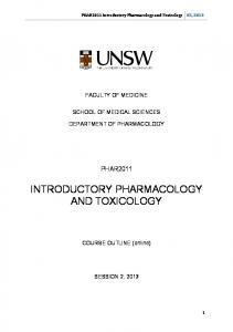 INTRODUCTORY PHARMACOLOGY AND TOXICOLOGY