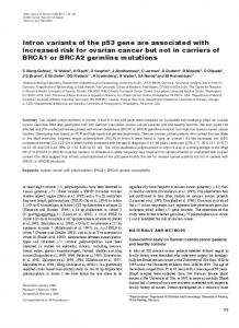 Intron variants of the p53 gene are associated with ... - CiteSeerX