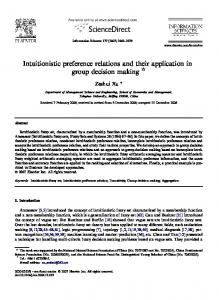 Intuitionistic preference relations and their application ...