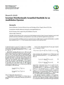 Invariant Distributionally Scrambled Manifolds for an Annihilation ...