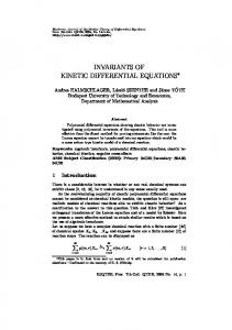 invariants of kinetic differential equations - EMIS