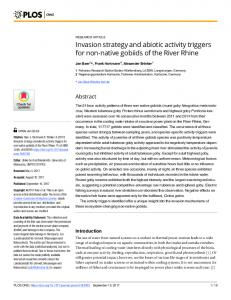 Invasion strategy and abiotic activity triggers for non-native ... - PLOS