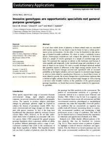 Invasive genotypes are opportunistic specialists ... - Semantic Scholar