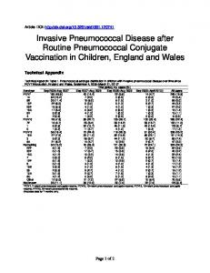 Invasive Pneumococcal Disease after Routine Pneumococcal ...