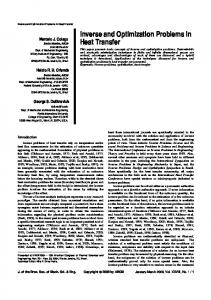 Inverse and Optimization Problems in Heat Transfer - SciELO