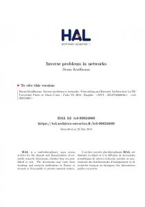 Inverse problems in networks - Tel Archives ouvertes - Hal