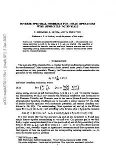 INVERSE SPECTRAL PROBLEMS FOR DIRAC OPERATORS WITH ...