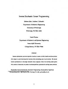 Inverse Stochastic Linear Programming - Optimization Online