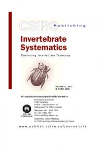 Invertebrate Systematics - CSIRO Publishing