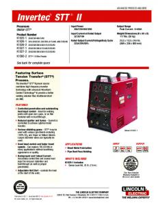 Invertec STT II Product Info - Lincoln Electric