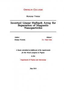 Inverted Linear Halbach Array for Separation of ... - Oberlin College