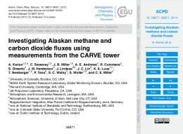 Investigating Alaskan methane and carbon dioxide fluxes