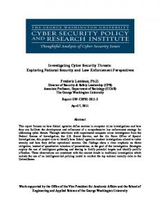 Investigating Cyber Security Threats - Cyber Security and Privacy ...