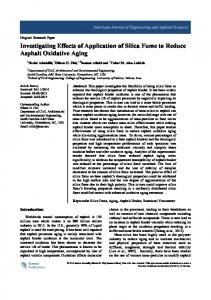 Investigating Effects of Application of Silica Fume to Reduce Asphalt
