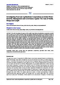 Investigating Food and Agribusiness Corporations ... - Water Alternatives