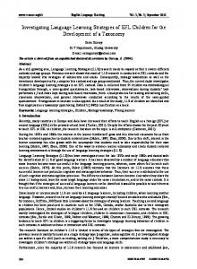 Investigating Language Learning Strategies of EFL Children for ... - Eric