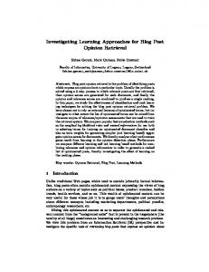 Investigating Learning Approaches for Blog Post ... - Semantic Scholar