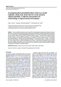 Investigating lethal and sublethal effects of the ... - CSIRO Publishing