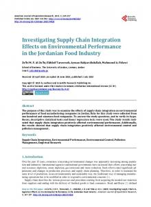 Investigating Supply Chain Integration Effects on Environmental ...