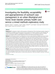 Investigating the feasibility, acceptability and appropriateness of