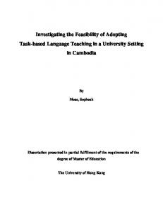 Investigating the Feasibility of Adopting Task-based